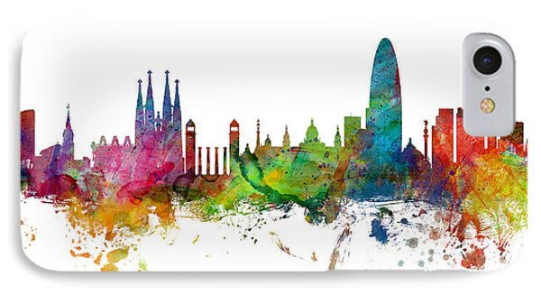 Barcelona iPhone 7 Case - Barcelona Spain Skyline Panoramic by Michael Tompsett