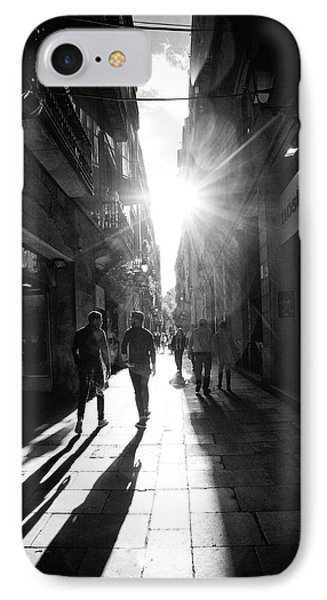 Barcelona Sunburst - Blackandwhite IPhone Case by Janet Meehan