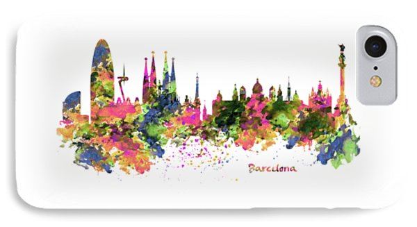 Barcelona Watercolor Skyline IPhone Case