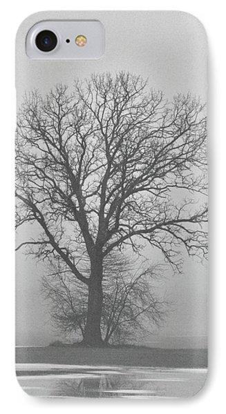 Bare Tree In Fog Phone Case by Nancy Landry
