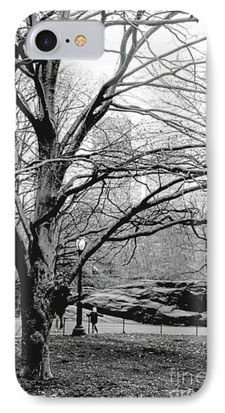Bare Tree On Walking Path Bw IPhone Case by Sandy Moulder