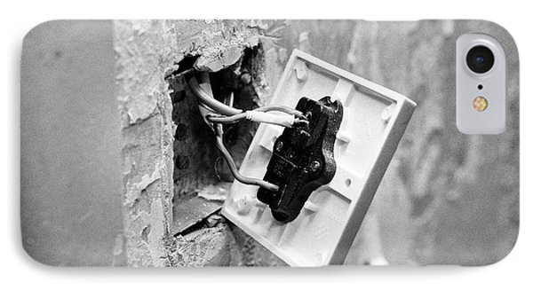Bare Wiring On Back Of Light Switch In House Being Redecorated In The Uk IPhone Case by Joe Fox