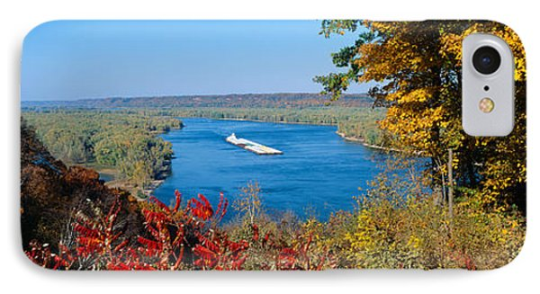 Barge On Mississippi River In Autumn IPhone Case