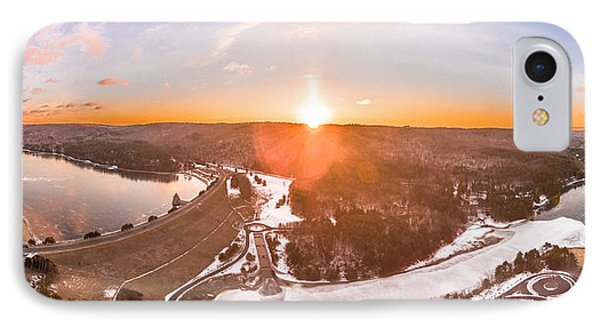IPhone Case featuring the photograph Barkhamsted Reservoir And Saville Dam In Connecticut, Sunrise Panorama by Petr Hejl