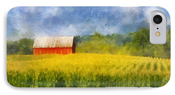 IPhone Case featuring the digital art Barn And Cornfield by Francesa Miller