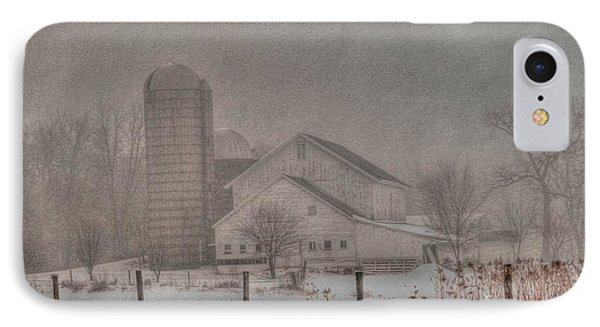 Barn In Fog Phone Case by David Bearden