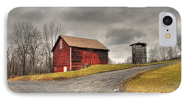 Barn In Winter Storm IPhone Case by Tony  Bazidlo
