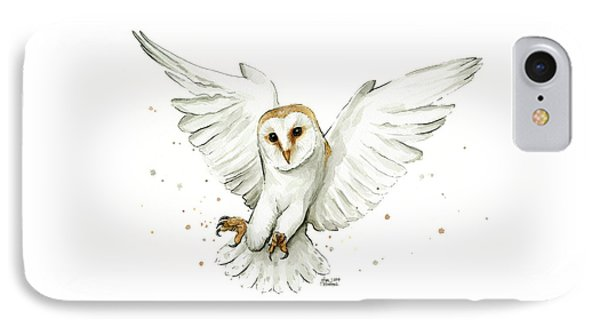 Barn Owl Flying Watercolor IPhone Case