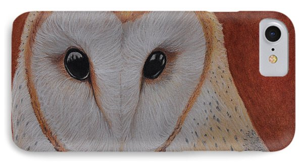IPhone Case featuring the drawing Barn Owl by Jo Baner