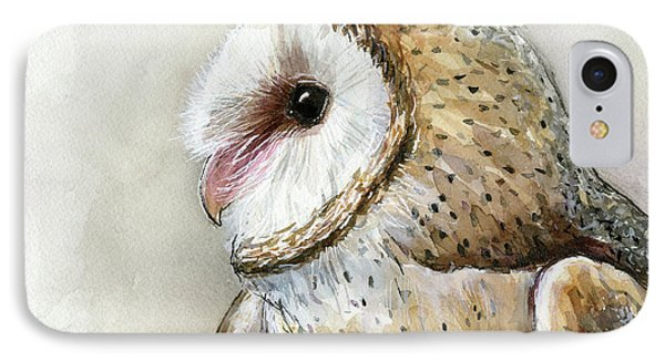 Barn Owl Watercolor IPhone Case