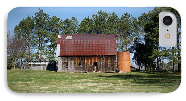 Barn With Tree In Silo Phone Case by Douglas Barnett