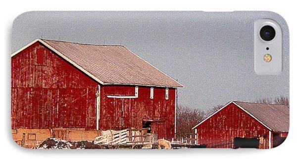 Barns In Winter Phone Case by David Bearden