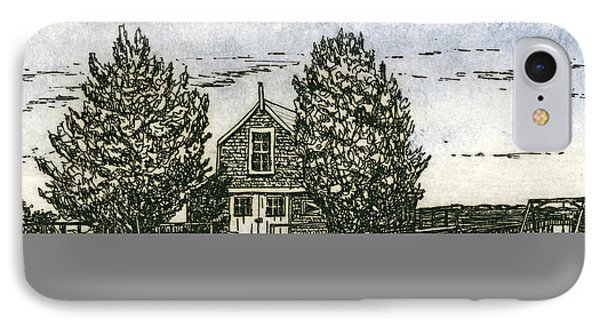 IPhone Case featuring the mixed media Barnstable Yacht Club Etching by Charles Harden
