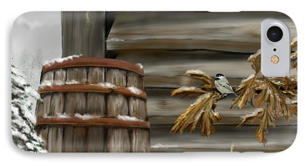 IPhone Case featuring the digital art Barnyard Barrel And Chickadee by Darren Cannell