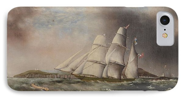 Barque Heading Out Off Anglesea In Choppy Seas IPhone Case by Samual Walters