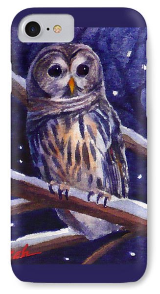 Barred Owl And Starry Sky IPhone Case by Janet  Zeh