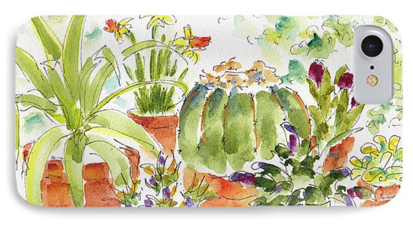 IPhone Case featuring the painting Barrel Cactus And His Buddies by Pat Katz