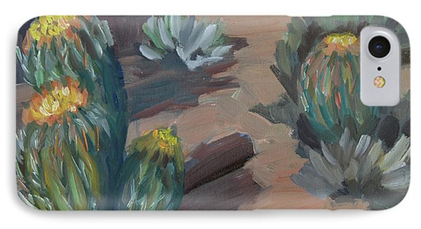 IPhone Case featuring the painting Barrel Cactus At Tortilla Flat by Diane McClary
