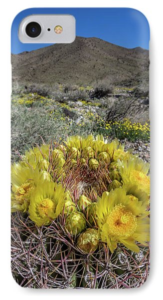 IPhone Case featuring the photograph Barrel Cactus Super Bloom by Peter Tellone