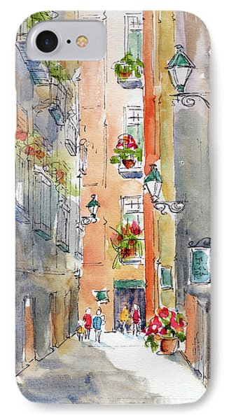 IPhone Case featuring the painting Barrio Gotico Barcelona by Pat Katz