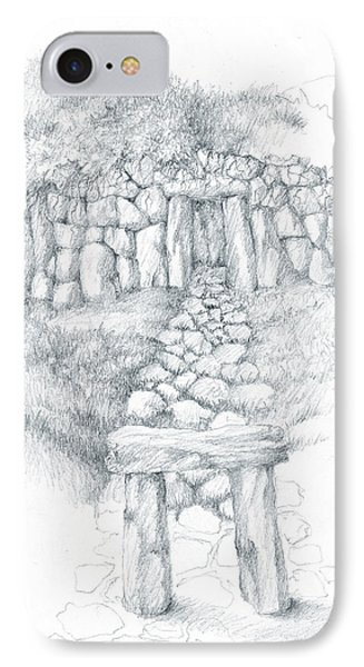 IPhone Case featuring the drawing Barrow Tomb by Curtiss Shaffer