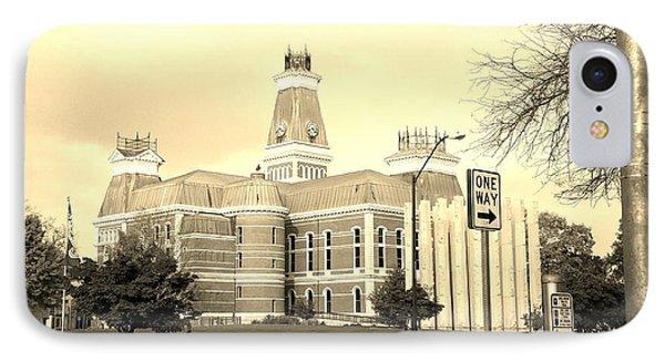 Bartholomew County Courthouse Columbus Indiana - Sepia IPhone Case by Scott D Van Osdol