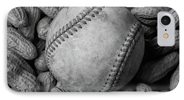 IPhone Case featuring the photograph Baseball And Peanuts Black And White Square  by Terry DeLuco