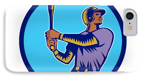 Baseball Batter Batting Bat Circle Woodcut IPhone Case by Aloysius Patrimonio