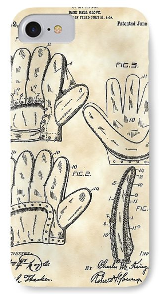 Baseball Glove Patent 1909 - Vintage IPhone Case by Stephen Younts