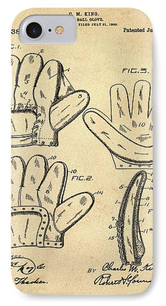 Baseball Glove Patent 1910 Sepia IPhone Case by Bill Cannon