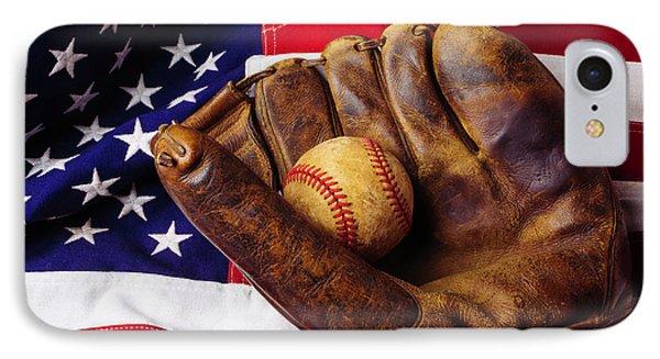 Baseball Mitt And American Flag IPhone Case