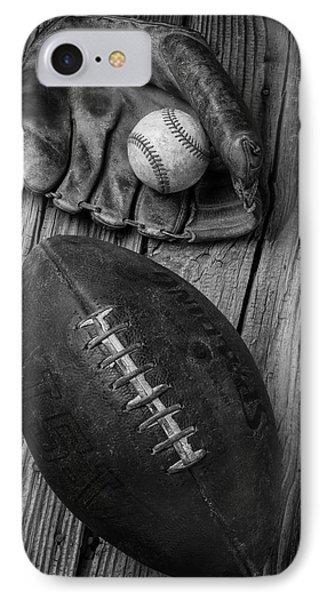 Baseball Mitt And Football IPhone Case by Garry Gay
