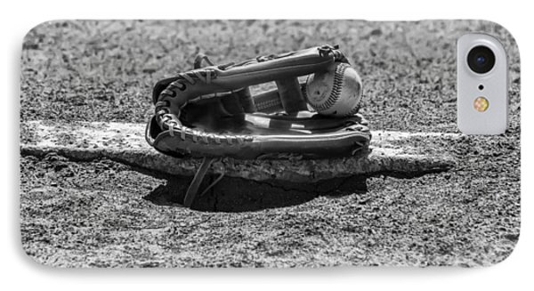 Baseball - On The Pitchers Mound In Black And White IPhone Case by Bill Cannon