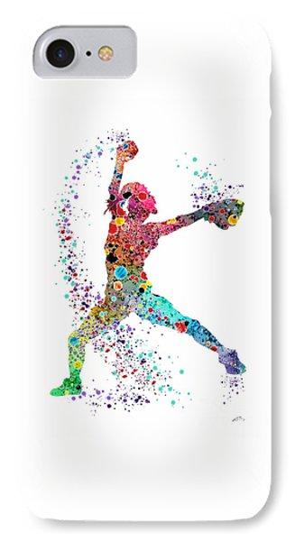 Softball iPhone 7 Case - Baseball Softball Pitcher Watercolor Print by Svetla Tancheva