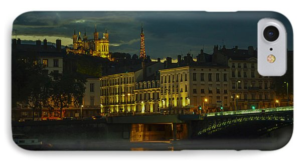 Basilica Notre Dame De Fourviere From Across The Rhone River Phone Case by Allen Sheffield