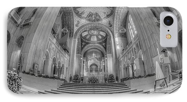 Basilica Of The National Shrine Main Altar Bw IPhone Case by Susan Candelario