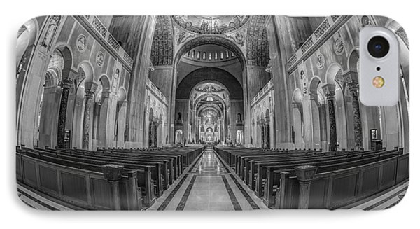 Basilica Of The National Shrine Of The Immaculate Conception Bw IPhone Case by Susan Candelario