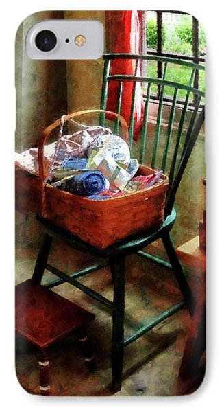 Basket Of Cloth And Yarn On Chair Phone Case by Susan Savad