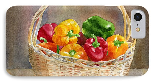 Basket Of Yellow Green And Red Peppers IPhone Case