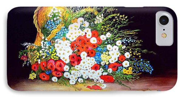 Basket With Summer Flowers Phone Case by Helmut Rottler