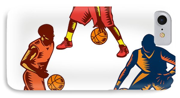 Basketball Player Dribble Woodcut Collection IPhone Case by Aloysius Patrimonio