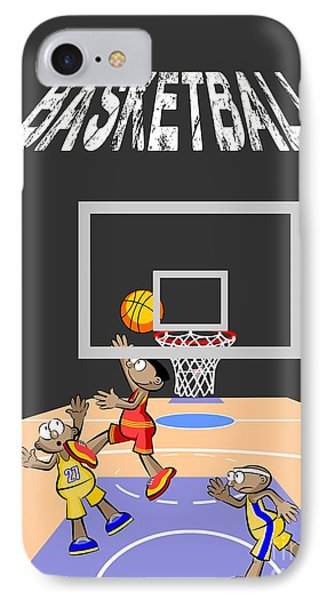 Basketball Player Jumping In The Opposite Area Trying To Score IPhone Case