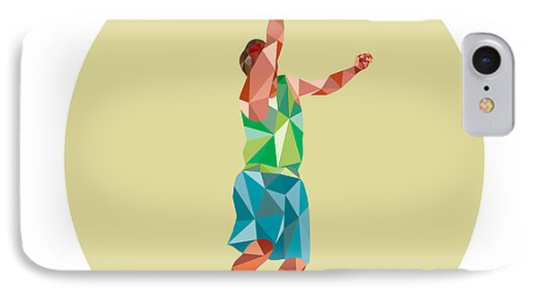 Basketball Player Lay Up Rebounding Ball Low Polygon IPhone Case by Aloysius Patrimonio
