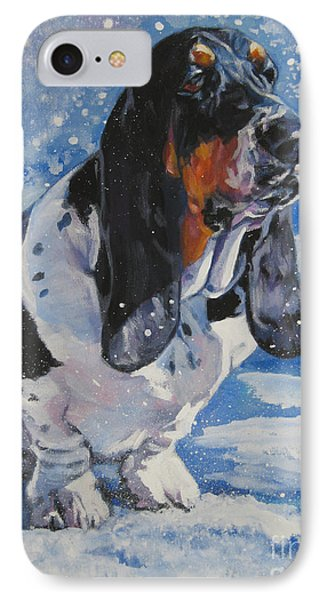 basset Hound in snow Phone Case by Lee Ann Shepard
