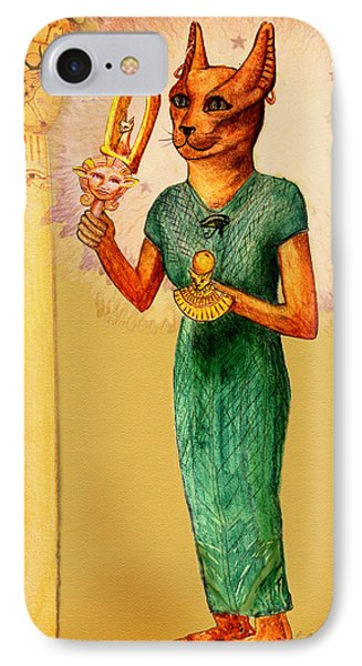 Bast Egyptian Cat Goddess IPhone Case by Lilith Marie Haas