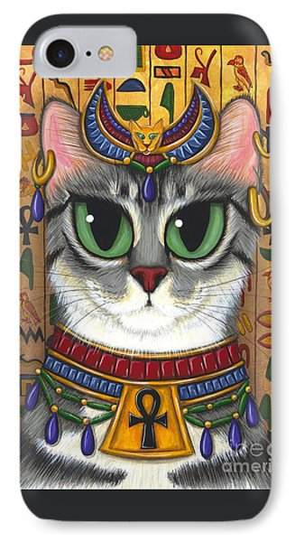 IPhone Case featuring the painting Bast Goddess - Egyptian Bastet by Carrie Hawks