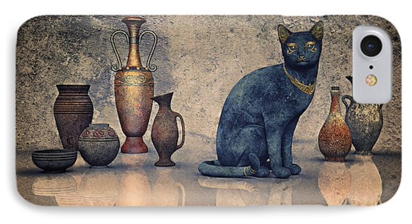 Bastet And Pottery IPhone Case by Jutta Maria Pusl
