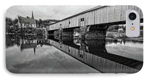 Bath Covered Bridge New Hampshire Black And White IPhone Case by Edward Fielding