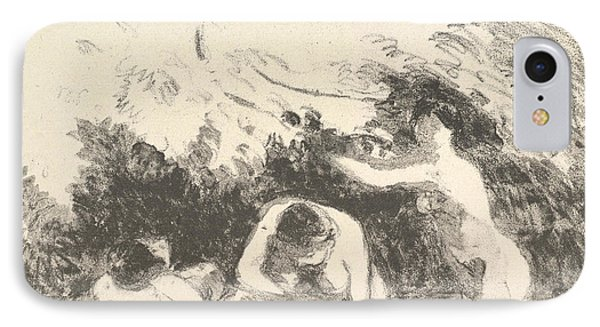 Bathers In The Shade Of Wooded Banks IPhone Case by Camille Pissarro