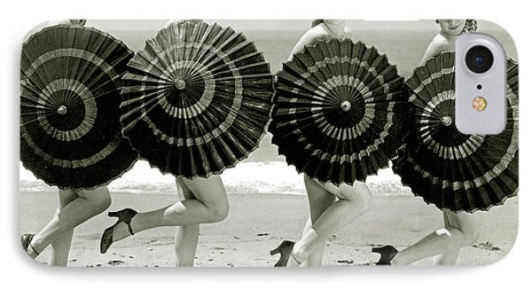 Bathing Beauties With Parasols IPhone Case by American School